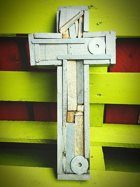 Original Messedupjournal Kas© Muddakas Cross Crucifix Silver  Wood Metal Garden