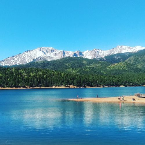 Pikes peak crystal lake Mountain Clear Sky Tranquil Scene Blue Scenics Water Tranquility Beauty In Nature Lake Copy Space Waterfront Nature Non-urban Scene Mountain Range Green Color Travel Destinations Tourism Vacations Day Outdoors Colorado Pikes Peak