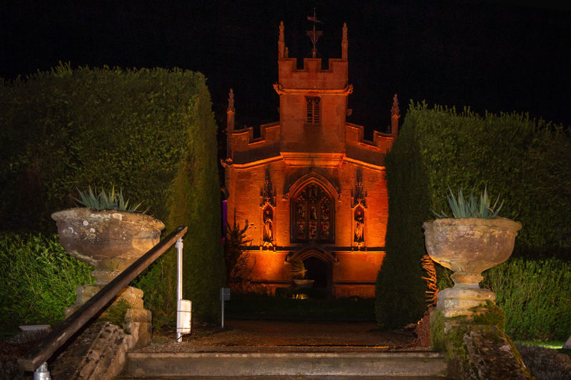 Architecture Building Exterior Night Illuminated Place Of Worship Chapel Spectacle Of Light Sudeley Castle