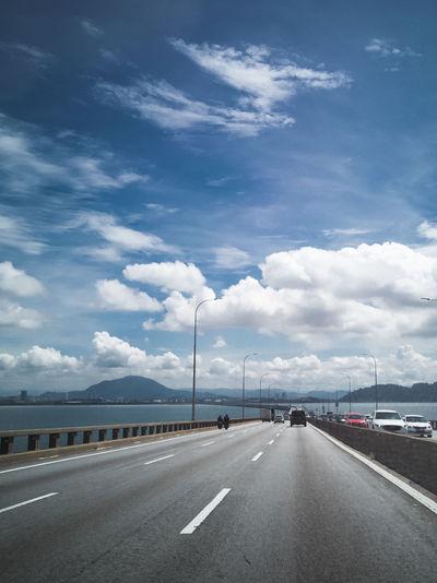 Towers of bridge connecting george town on penang island and seberang prai on mainland of malaysia.