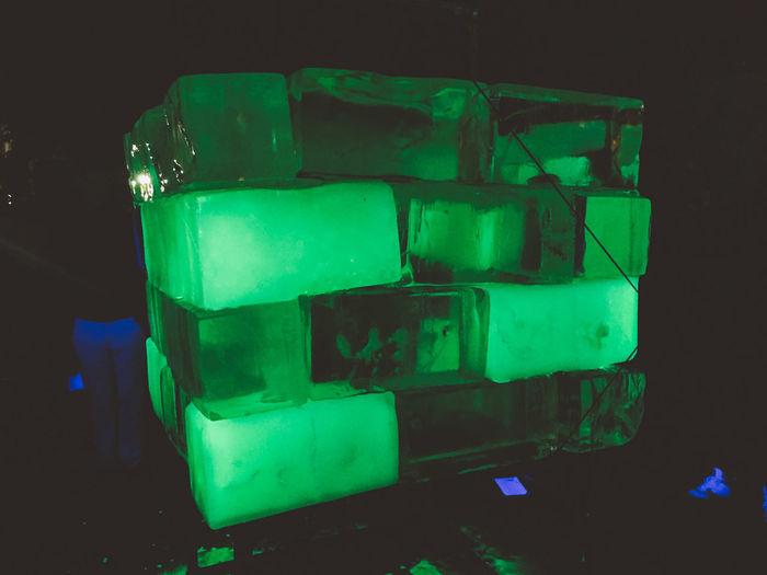 Art Biela Noc Bratislava Cube Green Color Ice Melting Night Slovakia Stack