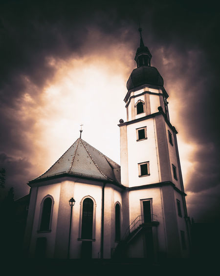 Maria Himmelfahrt Church Maria Himmelfahrt Architecture Belief Building Building Exterior Built Structure Cloud - Sky Cross Low Angle View Nature No People Outdoors Place Of Worship Religion Sky Spire  Spirituality The Past Tower