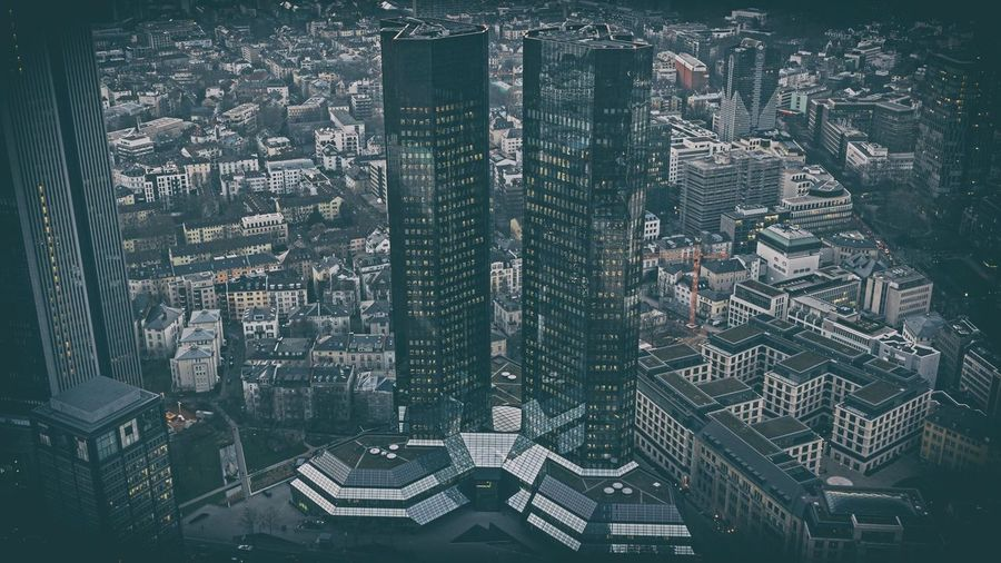 Two Towers Architecture Built Structure Building Exterior City Building Cityscape Residential District Crowded High Angle View Tall - High Tower Skyscraper Office Building Exterior Outdoors Aerial View Nature Day Travel Destinations Modern Financial District  Apartment Frankfurt Am Main Still Life
