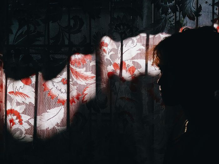 Eyeem Philippines Portrait Black Background Silhouette Curtain Window Shadow Close-up Looking Through Window