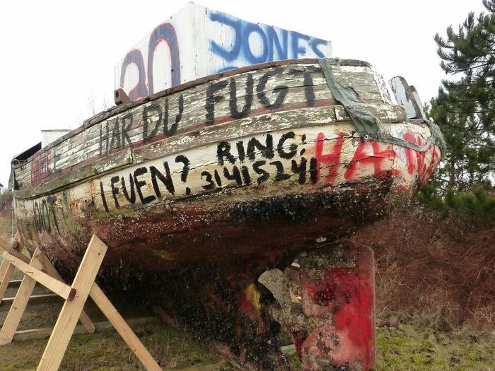 Abandoned Rusty Obsolete Ship Graffiti Wall No People Denmark