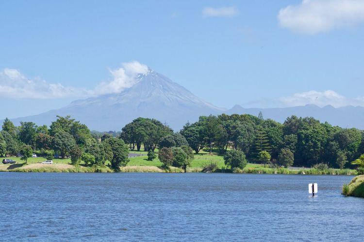 Animal Themes Beauty In Nature Blue Day Lake Lake View Mount Taranaki Mountain Nature New Plymouth New Zealand No People Outdoors Scenics Sky Tranquility Tree Water