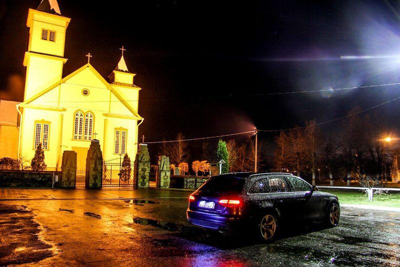 Church Outdoors No People Car Nightphotography Audi A4 Night Night Lights B8 Audi ♡ First Eyeem Photo Sky