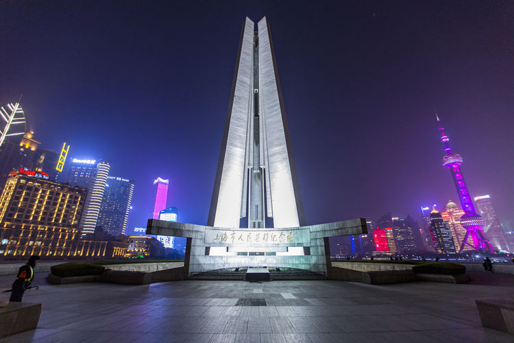 Monument to the People's Heroes Monument To The People's Heroes Architecture Building Exterior Built Structure City Cityscape Illuminated Modern Night No People Outdoors Sky Skyscraper Travel Destinations Urban Skyline