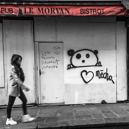 Paris Women Streetphotography Streetart Panda Words Of Wisdom... Jackleblack Streetart/graffiti Streetphoto Paris, France  City Street Photography City Life Paris ❤ Bistrotcafedeparis