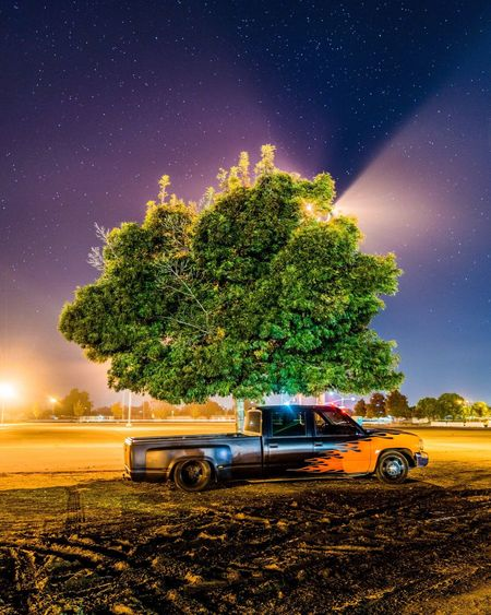 Night Car Transportation Journey Tree Road Driving Outdoors No People Longexposure Stars Long Exposure