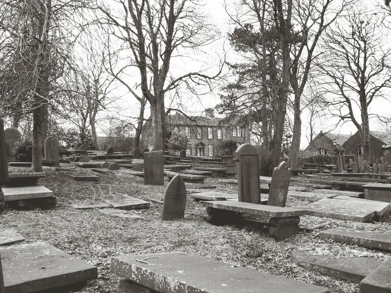 Gothic Beauty  Parsonage Bronte Bronte Sisters Haworth Graveyard Graveyard Beauty Gravestones Graves Landscape Nature Trees And Sky Trees Atmospheric Mood Atmospheric Monochromatic Monochrome Black And White Collection  Black And White Black & White Headstones Life And Death Bleak Stone Death