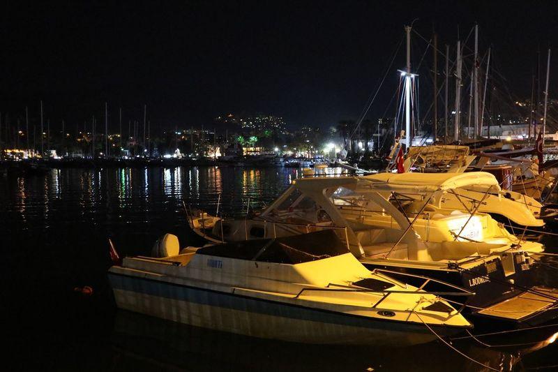 Bodrum Night Water Illuminated Nautical Vessel Transportation Mode Of Transportation No People Harbor City Sea Pier