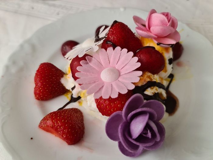 Close-up of strawberries on plate