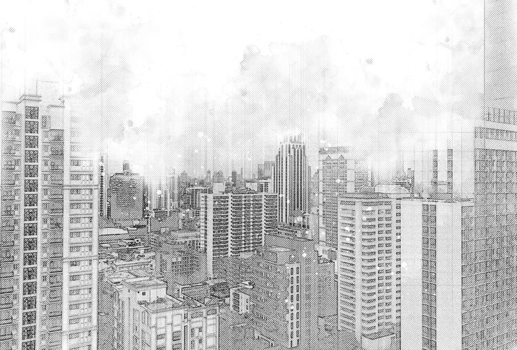 Sketch of the architectural building in the city. Building Sketch House Illustration Architecture Home Structure City Plan Interior Office Pencil Residential  White Designer  Shape Black Urban Business Organization Skyline Image And Blueprint Built Computer Concepts Construction Contemporary Design District Drawing Element Exterior Graphic Horizon Industry Life Mansion Objects Of Outdoors Painted Painting Roof Sketching Style Technology Town Window