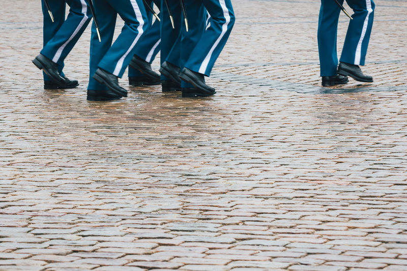 Marching Royal Guards Armed Forces Culture Denmark Discipline Europe Footwear Human Foot March Marching Men Royal Royal Guard Skandinavian Standing Street Uniform