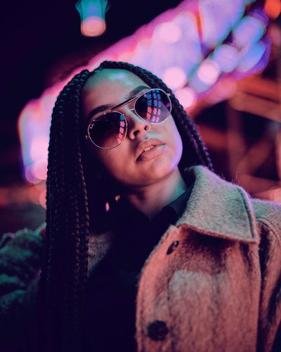 Model: https://www.instagram.com/sophyypaige/ Fairground Winter Wonderland Funfair Funfair Streetphotography Night Portrait Nightphotography Night Lights Night Photography Glasses Young Adult One Person Front View Lifestyles Fashion Real People Clothing Sunglasses Portrait Focus On Foreground Young Women Waist Up Leisure Activity Headshot Eyeglasses  Adult Looking Outdoors Scarf Hairstyle Beautiful Woman Warm Clothing
