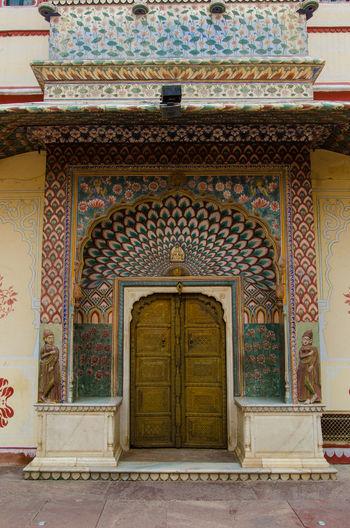 Amer Fort Amer Palace Building Exterior Closed Door Door Façade Front Door Green Color India Jaipur Pavone Peacok Rajasthan