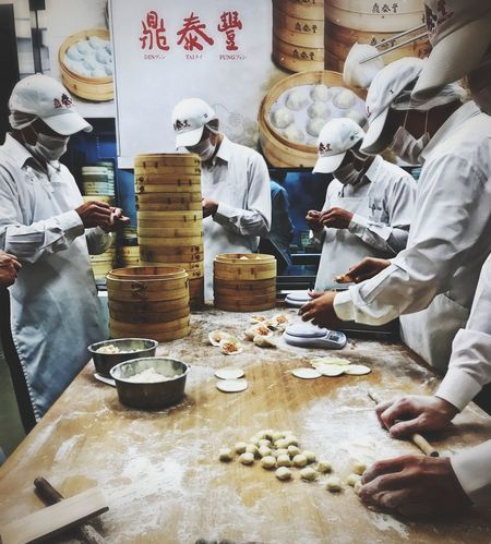 Working Real People Food Standing Occupation Commercial Kitchen Men At Work  Amazing Food IPhoneography IPhone 7 Din Tai Fung Taiwan Taichung Taichung, Taiwan Indoors  People Day Dim Sum Restaurant Dumplings Handmade For You Taiwanese Taiwan Food Taiwanese Food Food Stories