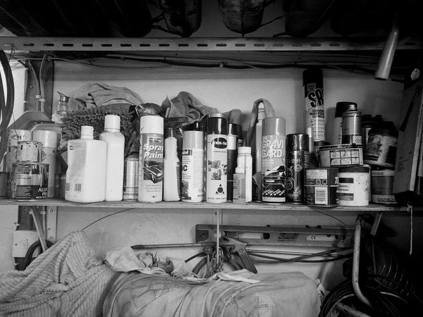 Indoors  Large Group Of Objects Garage Shelf Crammed