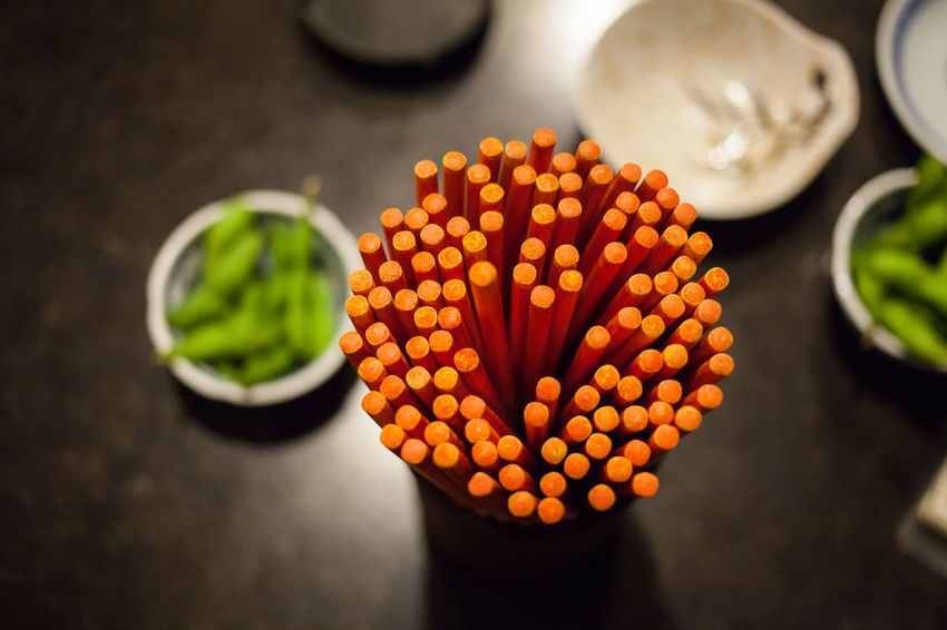 Chopsticks Close-up Day Focus On Foreground Food Food And Drink Freshness Fruit Healthy Eating High Angle View Indoors  No People Okinawan On The Table Plate Ready-to-eat Vegetable