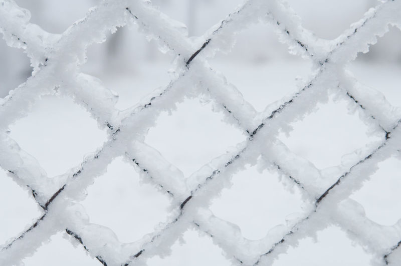 Full frame shot of frosted chainlink fence