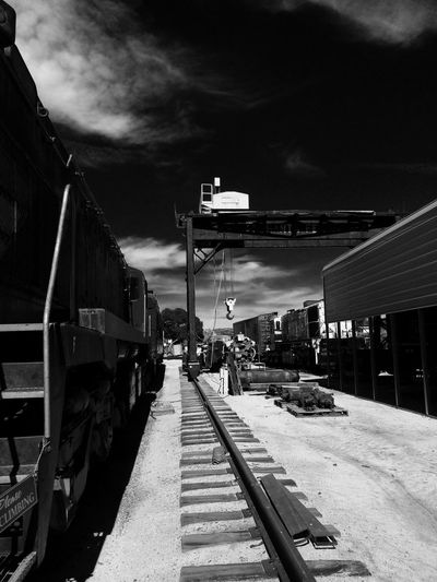 Monochrome Photography Built Structure Sky In A Row Cloud Long Narrow Metal No People Train Engine Campo Ca IPhoneography Southern Pacific Railroad. EyeEm Gallery Man Made Object Train Museum Outdoors Photograpghy  Geometric Shape Transportation Mode Of Transport Train Weekend Activities Close-up Large Group Of Objects