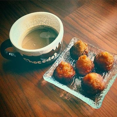My Morning Coffee, Hazelnut Coffee with some traditional cake belongs to my country specially West Java Province or Bandung City, its called Cucur Cake 😜😋👯👌🏻🍴☕️ delicious and healthy cake, Kopi hazelnut di pagi hari plus kue cucur, panganan tradisional khas Jabar Indonesia, untuk menanti makan siang yummie Food Photo Photography Foodgasm Foodporn Instafood Instagood Instagram Traditional Jabar Bandung INDONESIA Culinary Vintage Classic Morning Coffee Hazelnutcoffee Hazelnut Like Love Brunchtime Brunch EyeEm EyeEmBestPics