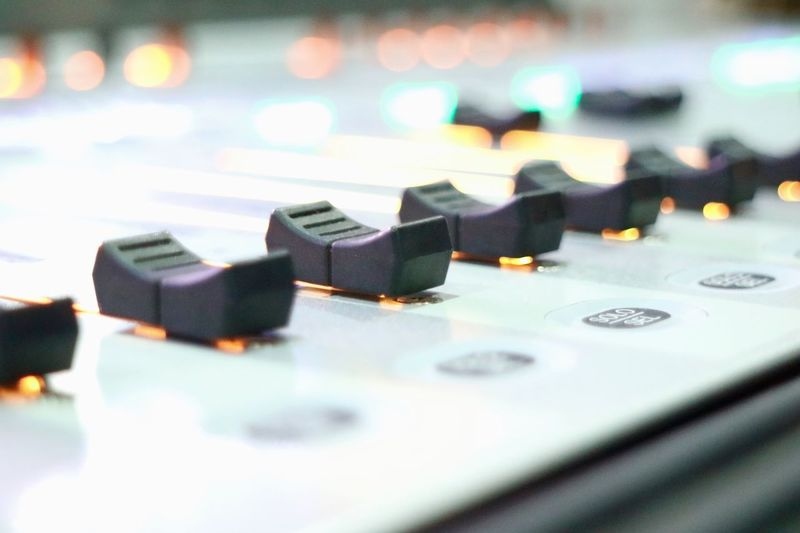 Music Audio Equipment Sound Recording Equipment Technology Sound Mixer Arts Culture And Entertainment Indoors  No People Stereo Close-up Recording Studio Control Panel Musical Instrument Mixing Radio Station Day Mcot Thailand Indoors  Music Backgrounds