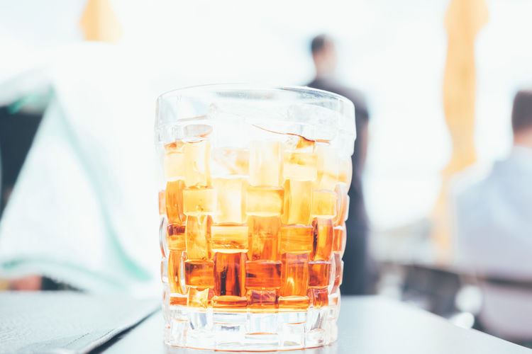 Close-up of whiskey on table