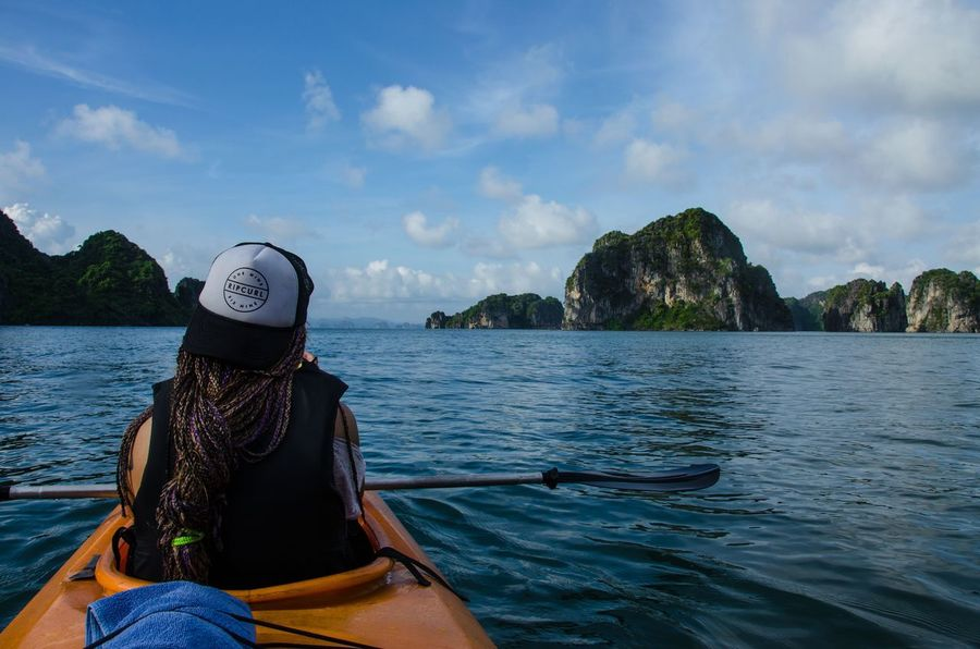 Vietnam Force Vietnam Halong Bay Vietnam Bai Tu Long Bay Canoa Magic Moments Sky Mountain Water Only Women Nautical Vessel Hat One Woman Only Adult Adults Only Travel One Person Women Transportation Day People Headshot Vacations Adventure Outdoors Sea Nature