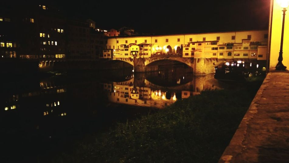Night Reflection Architecture Bridge - Man Made Structure Illuminated Built Structure Connection River Water Building Exterior City Outdoors No People Cityscape Sky Ponte Vecchio Romantic Fiume Arno Wedding Anniversary