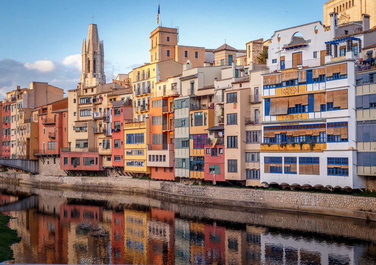 Girona Architecture Building Exterior Built Structure City Cityscape Colorful Day Outdoors Sky