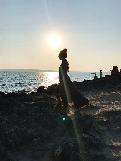 Girl at sunset 🌅 Piratabus Formentera Escalo' Summer Holidays Sea Beach Sky Land Water Real People Lifestyles Horizon Over Water Horizon Sunset Side View Scenics - Nature EyeEmNewHere