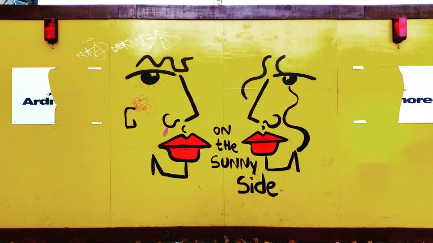 On the sunny side. Art City Cityscapes Creativity Graffiti London LONDON❤ Multi Colored No People Red Lips Street Streetart Streetart/graffiti Sunny Text Urban Urban Art UrbanART Urbanphotography Wall Yellow Here Belongs To Me