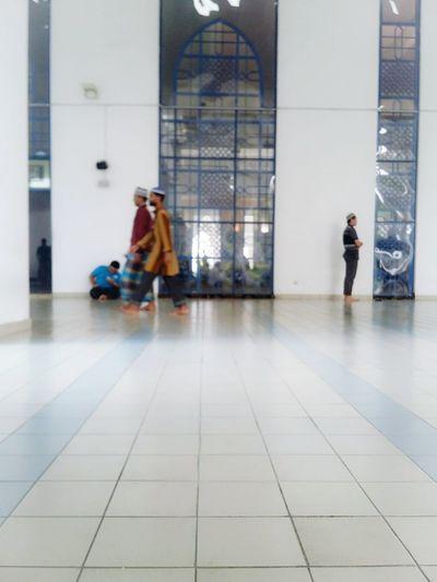 Men Tiled Floor Walking Person Muslims Muslim Architecture Muslim Mosque Indoors
