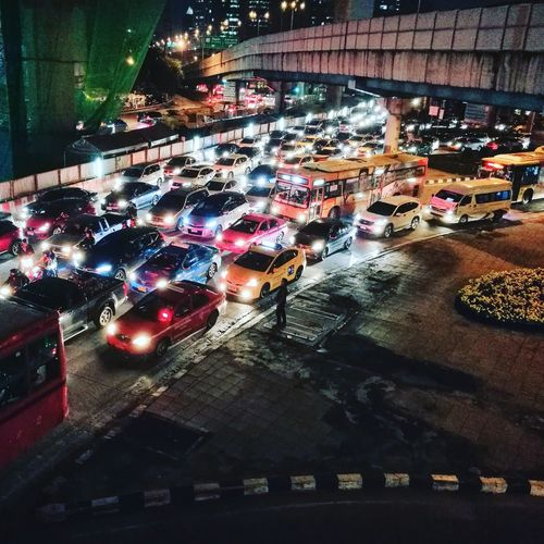 Traffic jam in Bangkok Night. Bangkok Thailand Night Traffic Jam Junction Car Light Colorful Stop Lifestyles Metro Town Stuck Taxi Water City Illuminated Car Road Land Vehicle Close-up Architecture Urban Scene Traffic Rush Hour Yellow Taxi