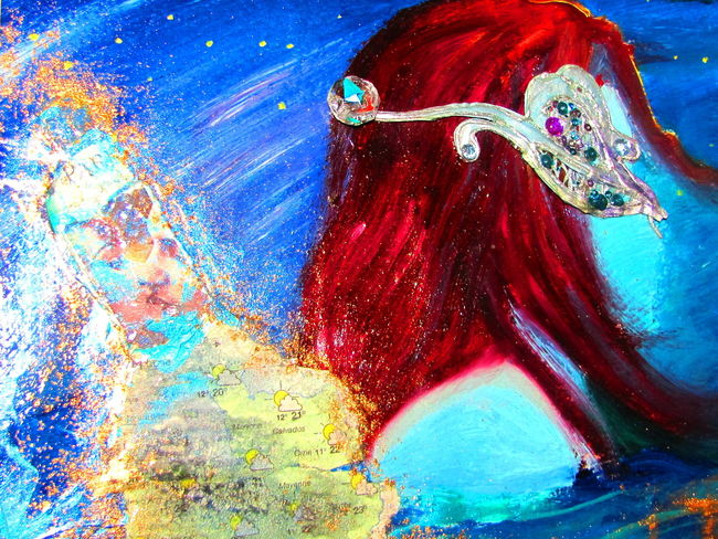 Leelooart.ca * Boutique Leelooart sur Etsy Adult Blue Blue Art Blue Wave Boutique Leelooart Close-up Day Leelooart Map Mask Masque Masquerade Mixedmedia Multi Colored One Person One Woman Only One Young Woman Only Only Women Outdoors People Person Red Hair Red Hair ❤ Vertical Young Adult