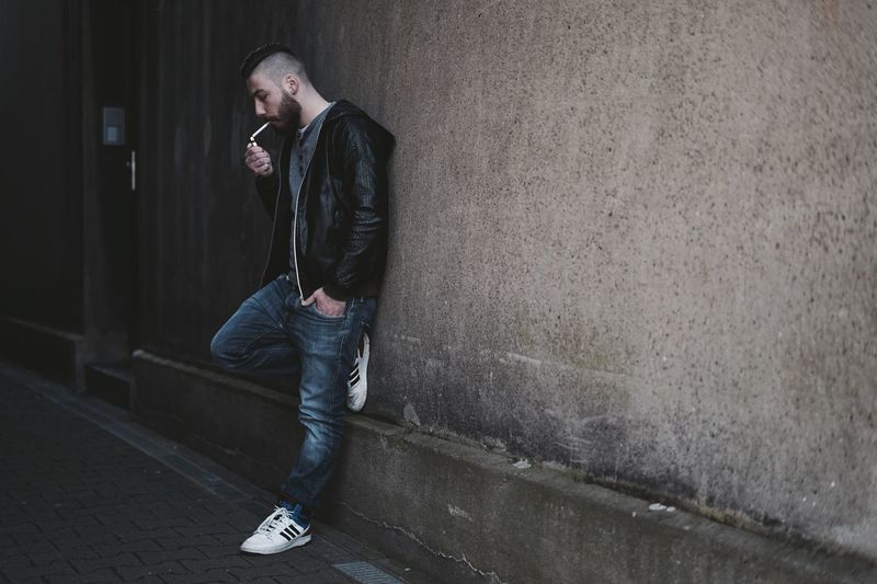 Leisure Activity Real People Young Adult Men Beard Bearded Smoking Confidence  Lifestyle City City Life Urban Adidas Portrait