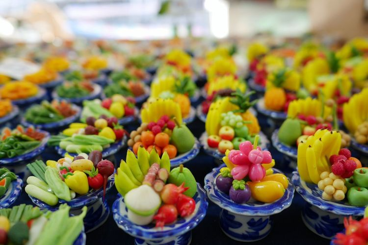Close-up of multi colored fruits for sale in market