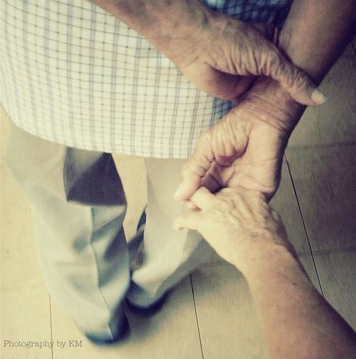 Cropped image of man holding hands
