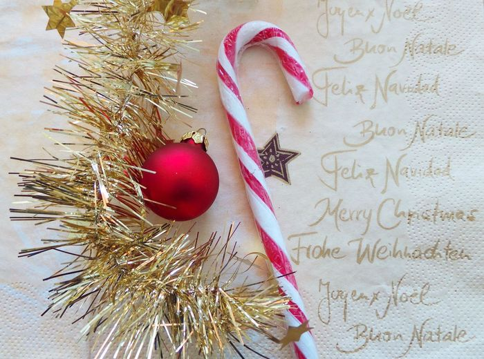 Christmas Gold Happy Holiday Candy Cane Celebration Christmas Decoration Christmas Decorations Christmas Ornament Christmas Ornaments Close-up Day Indoors  Lolipop No People Religion Table Text
