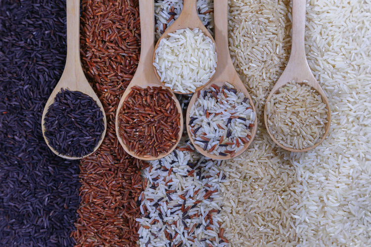 Five kinds of rice on wooden spoon. Rice Plant Grain Wheat Cooking Nature Agriculture Organic Food Lifestyles Healthy Health Diet Carbohydrate - Food Type Riceberry Variety Fresh Thai Food