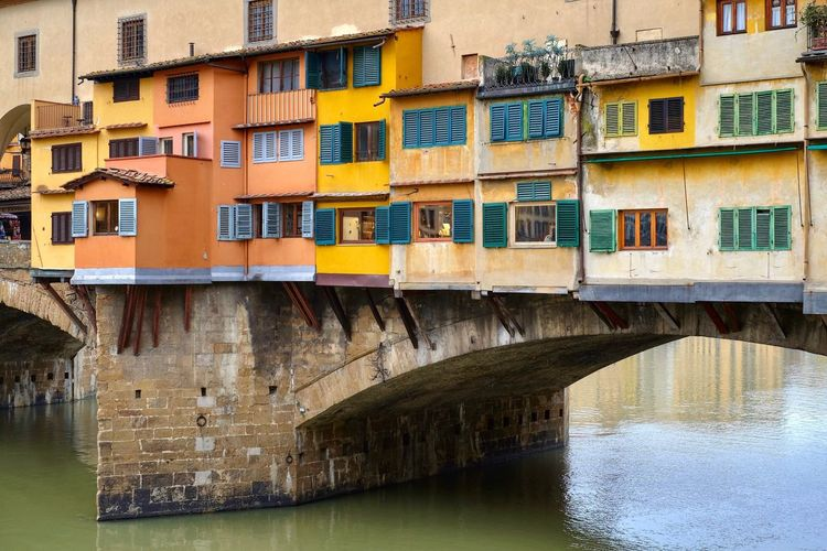 Arno River Ponte Ponte Vecchio Florence, Italy Firenze River Bridge Bridge - Man Made Structure Architecture Built Structure Building Exterior Day Window Outdoors No People