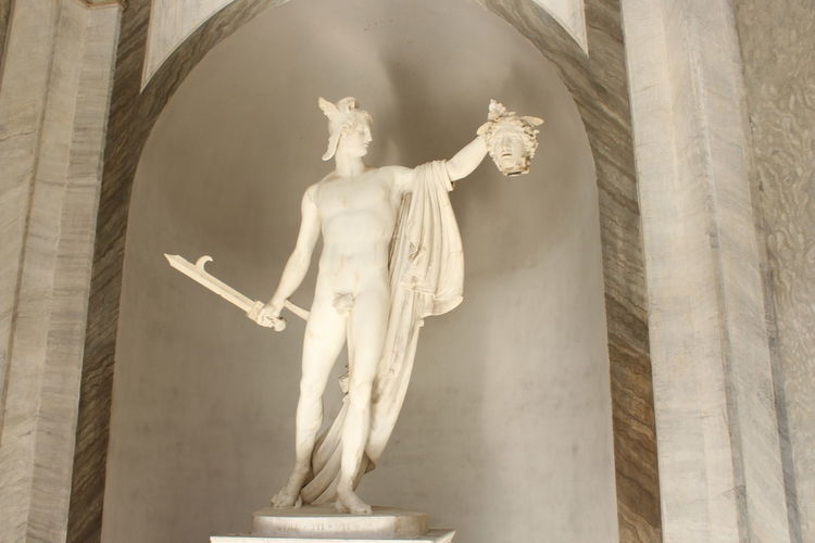 Vatican Architecture Art And Craft Creativity Day Female Likeness History Human Representation Indoors  Low Angle View Male Likeness Marble No People Perseo Perseo E La Medusa Perseus Perseus With The Head Of Medusa Religion Sculpture Spirituality Statue Vatican Museum Moving Around Rome