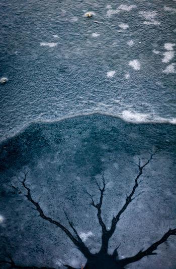 Full frame shot of sea shore during winter