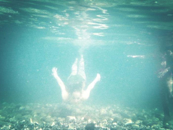 Underwater view of swimming underwater