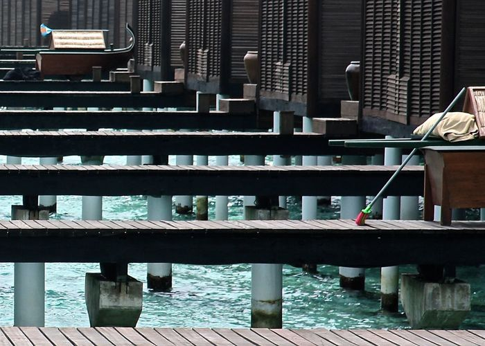 Architecture Beautifully Organized Minimalism Wooden Water Vacation Turquoise Travel Ocean Maldives EyeEm Best Shots Personal Perspective Watervillage Modern Taking Photos Bridge - Man Made Structure Village In A Row Cleaning Bridges Hello World Getting Inspired Wood - Material Built Structure