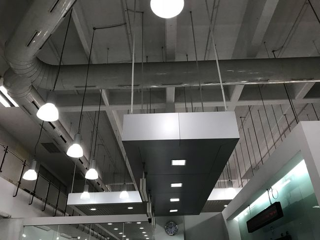 Ceiling Illuminated Lighting Equipment Indoors  Low Angle View Architecture No People