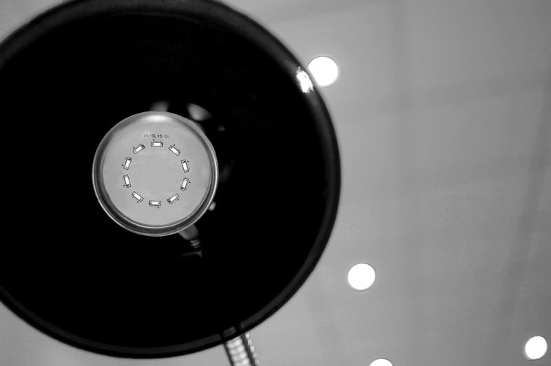 Black And White Bokeh Close-up Lamp Led Lights  Low Angle View No People Office