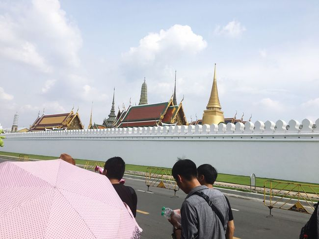 WatPhraKaew Religion Real People Architecture Place Of Worship Men Spirituality Sky Built Structure Cloud - Sky Lifestyles Leisure Activity Travel Destinations Rear View Building Exterior Day Outdoors Bangkok Thailand. Adult